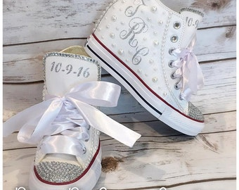 Bridal Bling & Pearl Platform Women's Wedding Converse