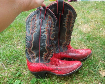 Ladie's Snake Skin Red Boots Cool Stitching Boots 10 Dollars OFF and  Size 8B