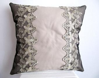 StiloPillow Cover,Lace Pillow Case,Decorative Pillow,Lace Throw Pillow,Couch Pillow,Cotton Cushion Cover Beige Pillow Case Lace Pillow18''