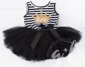 Second Birthday outfit second dress or Black and white with gold glitter, second birthday dress, second birthday outfit, 2nd birthday crown