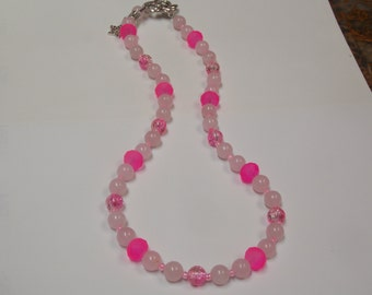 Hand made Beaded necklace w/ Pink quartz