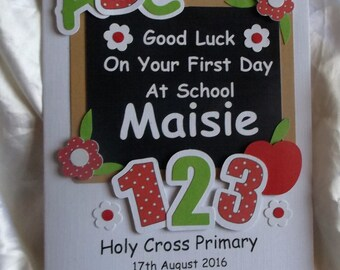 Personalised Handmade First Day at School Card