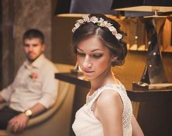 Flower crown with ivory, Wreath with jasmine flower,  Floral bridal crown, Ivory flower wreath, Bridal hair crown, Boho floral crown