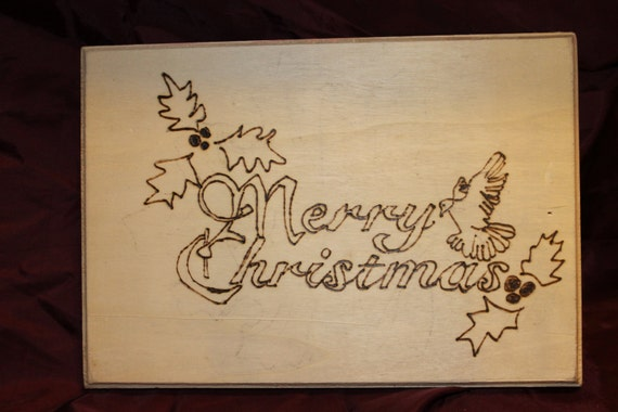 Merry christmas script wood burning by cnccraftsnmore on etsy