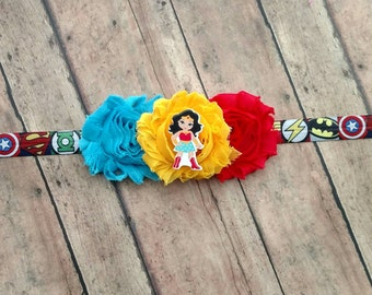 Superhero Wonder Woman headband with shabby flowers on comic book printed elastic band for baby, toddler and adult