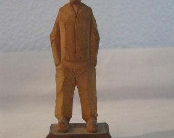 Vintage Audet Hand Carved Wooden Man Quebec Canada