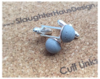 Round Cufflinks Concrete Silver Plated