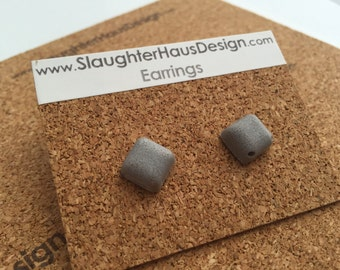 Square Earrings Ear Studs Concrete Silver Plated