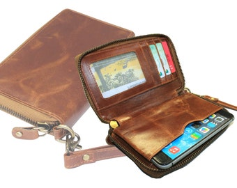 100% Genuine leather wallet with zipper around it. Space for money and mobile. All in one wallet. Art. 1118