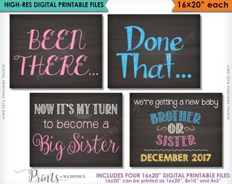 """4th Baby Pregnancy Announcement Photo Props, Been There Done That Now It's My Turn, 8x10/16x20"""" Chalkboard Style Digital Printable Files"""