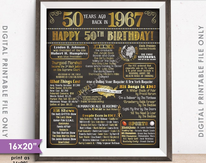 """50th Birthday Gift 1967 Poster Sign 16x20"""" Chalkboard Style Instant Download Digital Printable File, Flashback 50 Years Ago Born in USA 1967"""