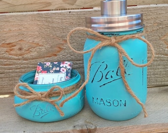 Business Cardholder Lotion Pump Mason Jar Card HolderRustic Office Organization