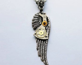 Angel wing necklace, steampunk necklace