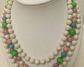 3 Strand 1950's Necklace Plastic  Beaded