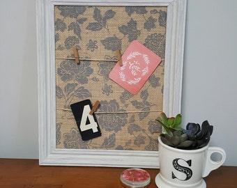 Message board, burlap memo board, bulletin board, framed message board