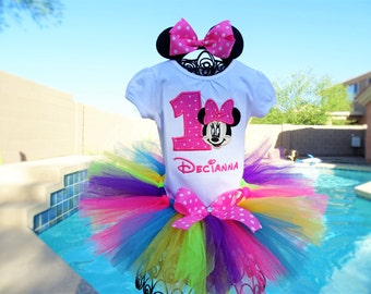 Personalized Minnie Mouse Rainbow tutu outfit, Birthday tutu/Halloween costume