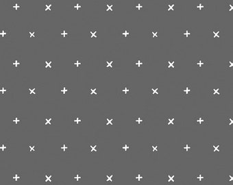 Crib Sheet- Grey With Small White Crosses/Stars  -Changing Pad Cover- Baby Bedding - Toddler Bedding -