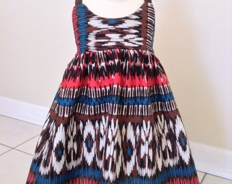 Upcycled Baby Dress, Baby Boho Dress, Baby Aztec Dress, Baby Spaghetti Strap Dress, 2T