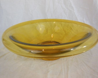 Vintage Amber Rolled Edge Glass Bowl