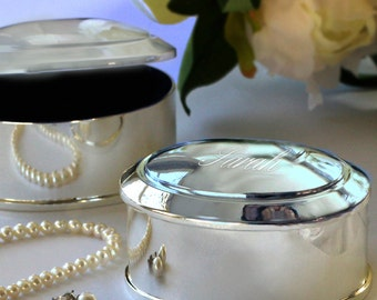 Silver Oval-Shaped Trinket/Jewelry Box (c141-1165) - Free Personalization