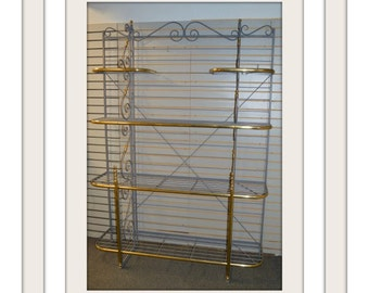 Transitional Style 1 Piece Welded Bakers Rack in a Pewter Finish w/Brass Details
