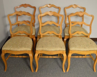 Vintage Set of 6 French Provincial Side Chairs