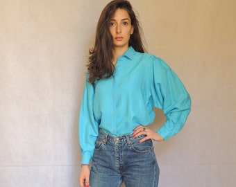 80s 90s Vintage Long Sleeve Turquoise Blouse