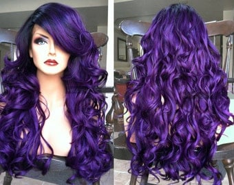 Purple Lace Front Wig // Wavy Pastel + HEAT Ok Wig // Skin Part & Ombre Black Dark Roots