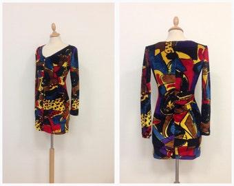 KRIZIA vintage 1980s 1990s chenille pop art print mini dress - size S/M