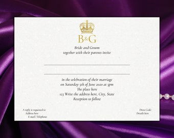DIY Printable 5x7 Wedding Invitation Template | Prince William Kate Middleton | Royal Insignia | Crown | INSTANT DOWNLOAD - Microsoft Word