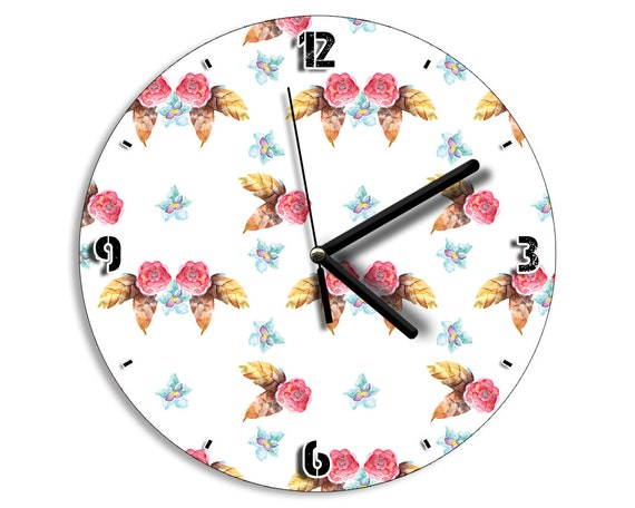 Vintage Retro Flowers Pattern Wall Clock Home Deco Decor Kitchen