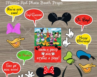Mickey Mouse Photo Booth Props, Minnie Mouse Red Photo Booth Props, Minnie Mouse Birthday, Minnie Mouse Party, Mickey Mouse party