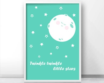 Mint Nursery Print, Nursery Wall Art Print, Digital Nursery Art, Kids Wall Print, Moon And Stars Art, Mint Nursery Decor, Twinkle Twinkle