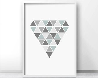 Geometric Wall Art Print,  Digital Download Modern Art Print,  Geometric Wall Print, Printable Art,  Abstract Wall Art,  Gray Home Decor Art