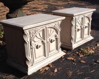 Ornate Distressed Nightstands