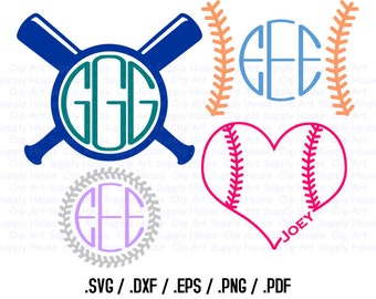 Baseball Monogram, Baseball SVG, Baseball Fan, Baseball Design Files, Silhouette Studio, Cricut Design,  SVG Download File, EPS File - CA156