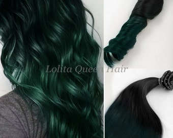 Emerald Green Hair Extensions,100% Remy Human Hair, Clip in Hair Extensions, Dark Green Hair,Ombre Extensions,Balayage Extensions