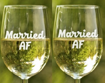 Wine Glass engraved ~ Married AF couples gift, wine glasses gift, stemless wine glasses, beer glass, etched glasses, military wife gift