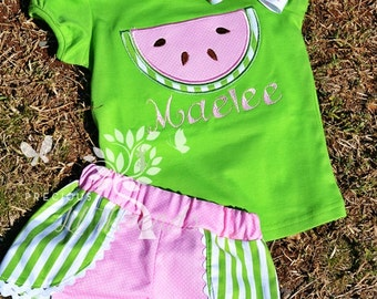 Custom Boutique Watermelon Tee- Watermelon Shirt- Short Set- Fruit- Toddler- Baby- Girls- Size 12m, 18m, 2t, 3t, 4t, 5, 6