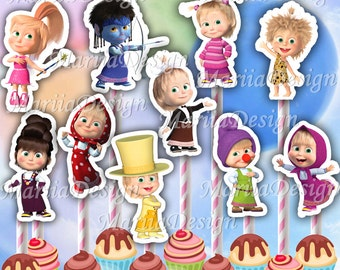 Masha and the Bear Centerpiece, Masha and the Bear Centerpieces,Masha and the Bear Characters,Masha and the Bear Cupcake toppers - ONLY FILE