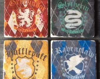 Harry Potter House Crests Plaid Coaster or Decor Accent