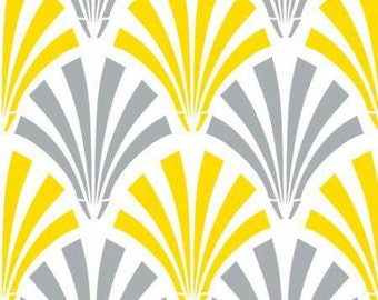 Emma & Mila DSC Deco Fans Yellow and Grey Cotton Fabric - 1/2 Yard Increments