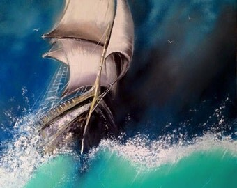 Sailboat Splash Oil On Canvas Original 47x32""