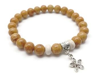 Riverstone Bracelet, Charm Bracelet, Flower Charm, Stretch Bracelet, Stone Bracelet, Riverstone Jewelry, Gift for Her
