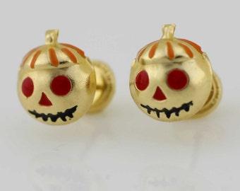 14K Gold Pumpkin Stud Earrings, 14K Jack O Lantern Earrings, Pumpkin Earrings, Halloween Jewelry, 14K Gold Stud Earrings,