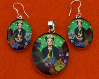 Sterling Silver Frida Kahlo Errings and Necklace Set, Silver Frida Kahlo Necklace,  Frida Kahlo with Real Flowers in Silver Bezel