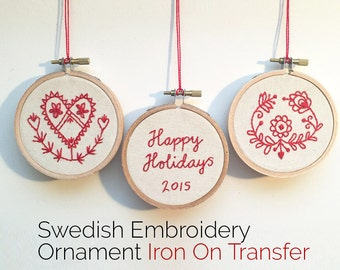 Iron On Transfer & PDF Booklet • Traditional Swedish Folk Art Embroidery Ornament Pattern • Fair Trade