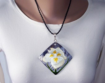 Large pendants Gift for sister Mother of pearl necklace Women gift idea Nature necklace Iris flower Painted stone Gray necklace Gift for mom
