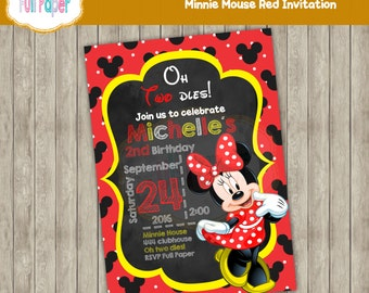 Minnie Mouse Red Invitation-Minnie Red Polka Invite-Minnie Red Party Birthday-Minnie Red Party Supplies-Minnie Red Card-Red,Black and yellow