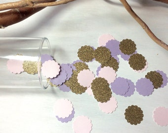 1,000 Pink, Purple & Gold Glitter Confetti | Scalloped Confetti | Bridal Shower | Table Decor | Wedding | Baby Shower | Baby Girl